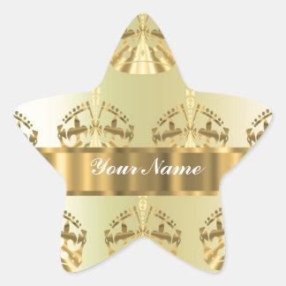 Gold crowns star sticker