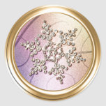 Gold  Crystal Snowflake Envelope Seal Sticker