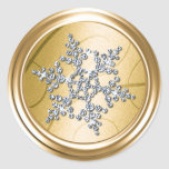 Gold  Crystal Snowflake Envelope Seal Round Stickers