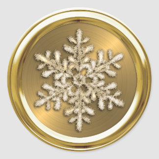 Gold Crystal Snowflake on Gold Seal