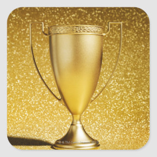 Gold Cup Trophy Square Stickers