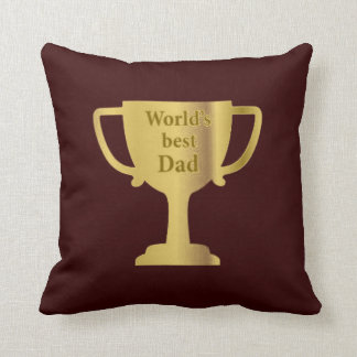 Gold Cup World's Best Dad Cushion Throw Pillow