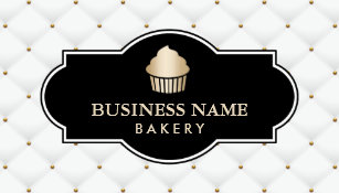 gold cupcake bakery luxury quilted business card - Bakery Business Cards