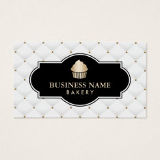 Gold Cupcake Bakery Luxury Quilted Business Card at Zazzle