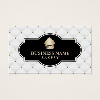 Gold Cupcake Bakery Luxury Quilted Business Card