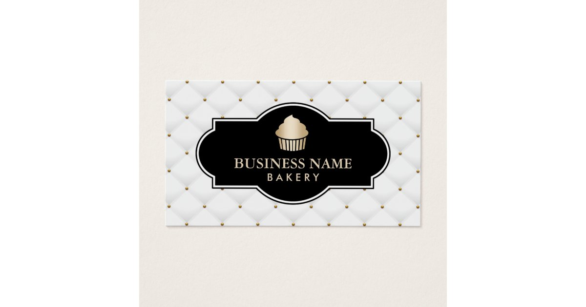 Gold Cupcake Bakery Luxury Quilted Business Card | Zazzle.com