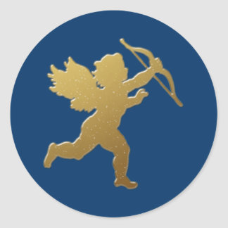 gold cupid classic round sticker