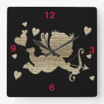 Gold cupid on black background, wall clock