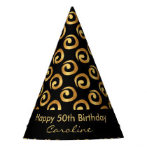 Gold Curls 50th Birthday Party Hat