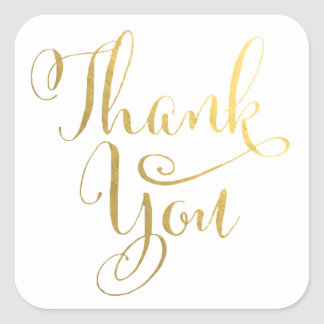 Gold Cursive Typography Thank You Stickers