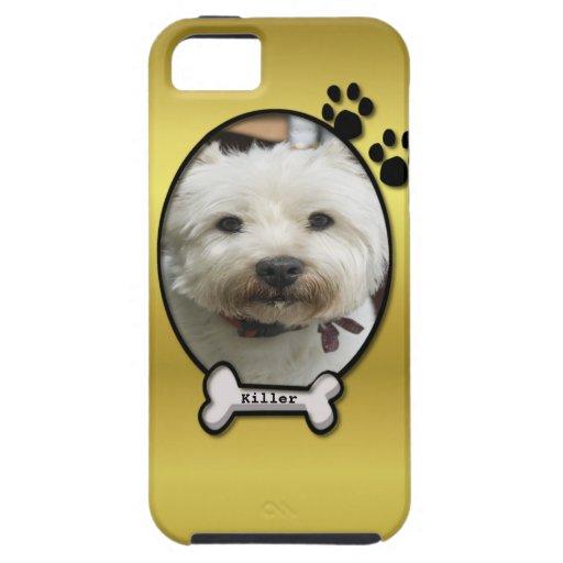 Gold Custom Dog Photo iPhone 5 Case