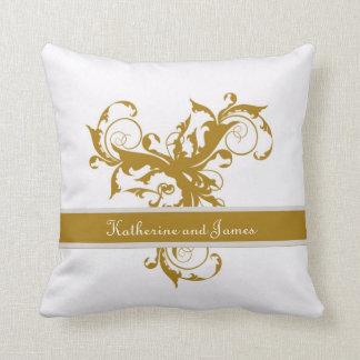 Gold custom  Leaf Wedding gift Throw Pillow