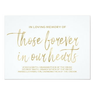 Gold Custom Memorial Sign | Stylish Hand Lettered Card