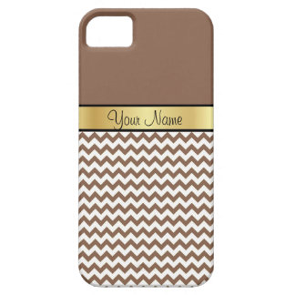 Gold Custom Name Chic Russet Brown & White Chevron iPhone SE/5/5s Case