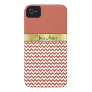 Gold Custom Name Chic Rust Red & White Chevron iPhone 4 Cases