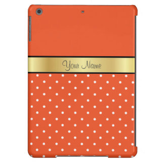 Gold Custom Name Tangerine Tango, White Polka Dots iPad Air Case