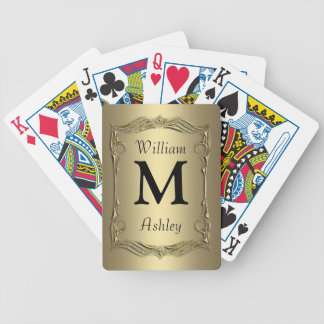 Gold Customized Monogrammed Playing Cards