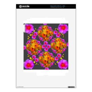 GOLD DAFFODILS FUCHSIA ROSES GREY DECALS FOR THE iPad 2