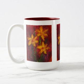 Gold Daffodils in Pink Coffee Mug