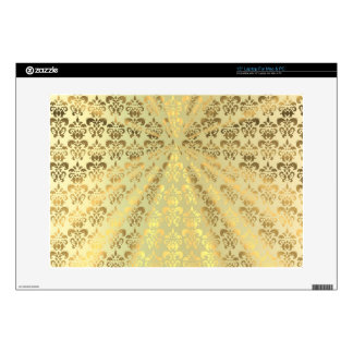 "Gold damask 15"" laptop decal"