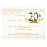 Gold Damask 20th Anniversary Celebration Invite
