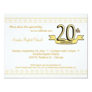 """Gold Damask 20th Anniversary Celebration Invite 4.25"""" X 5.5"""" Invitation Card"""