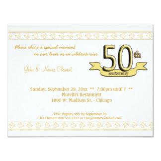 """Gold Damask 50th Anniversary Celebration Invite 4.25"""" X 5.5"""" Invitation Card"""
