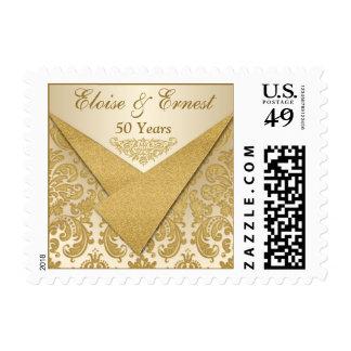 Gold Damask 50th Wedding Anniversary Postage