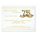 """Gold Damask 75th Anniversary Celebration Invite 4.25"""" X 5.5"""" Invitation Card"""