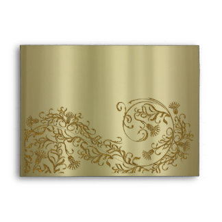 Gold damask A7 Greeting Card envelopes