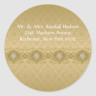 Gold Damask Address Labels Classic Round Sticker