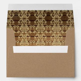 Gold Damask and Barn Wood Envelope