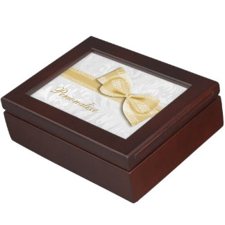 Gold Damask and Faux Bow Memory Box