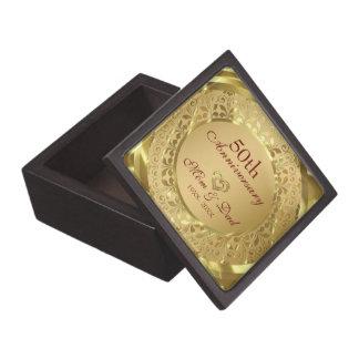 Gold Damask And Gold Hearts-Gold Anniversary Keepsake Box