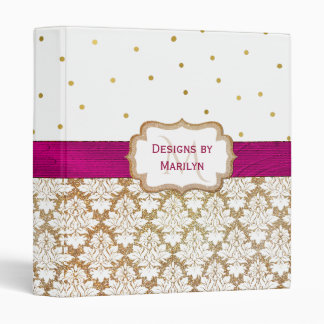 Gold Damask and Polka Dot Custom Binder