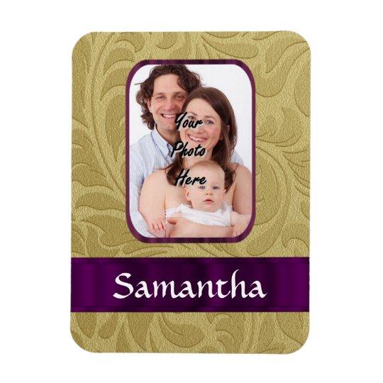 Gold damask and purple ribbon magnet