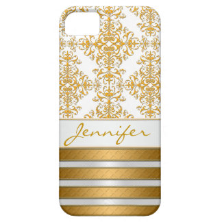 Gold Damask and Stripes Personalized iPhone 5 Cover