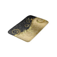 Gold Damask And Swirl And Black Damask Bathroom Mat