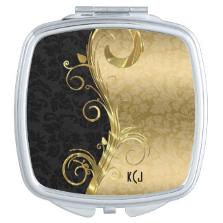 Gold Damask And Swirl And Black Damask Makeup Mirror
