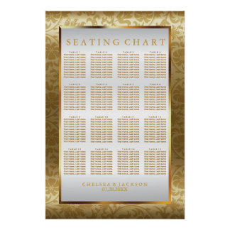 Gold Damask and White Satin - Seating Chart