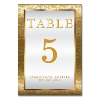 Gold Damask and White Satin - Table Card