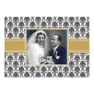 Gold Damask Anniversary Party Invitation