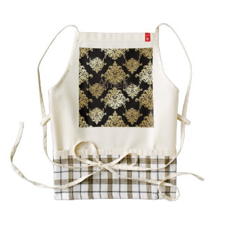 gold,damask,antique,vintage,pattern,elegant,black, zazzle HEART apron