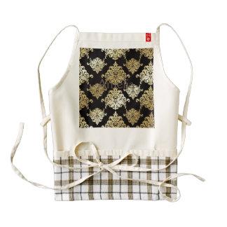 gold,damask,antique,vintage,pattern,elegant,black, zazzle HEART apron