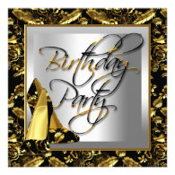 Gold Damask Black High Heel Shoes Party Personalized Invitations