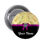 Gold damask & black personalized button