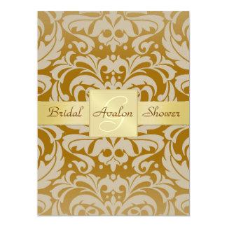 "Gold Damask Bridal Shower Monogram Invitation 6.5"" X 8.75"" Invitation Card"