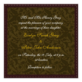 Gold damask brocade Vintage wedding Personalized Invite