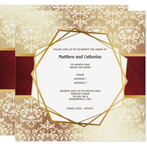 Gold damask Burgundy geometric frame formal party Invitation