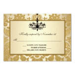 Gold Damask, Chandelier Wedding Reply Card